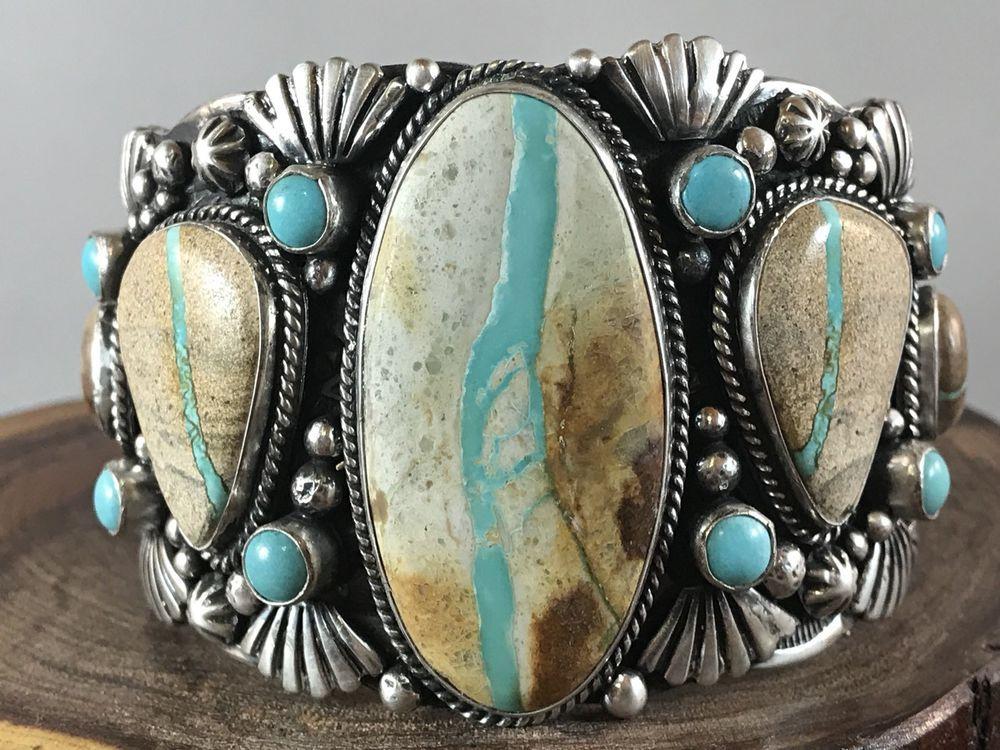 Navajo huge multi stone royston ribbon turquoise bracelet for Royston ribbon turquoise jewelry