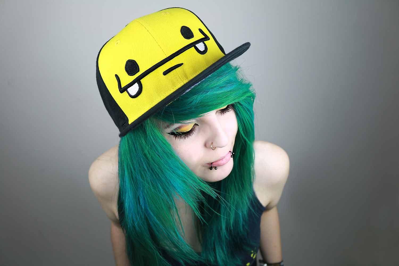 snapbacks emo cute girl cap green
