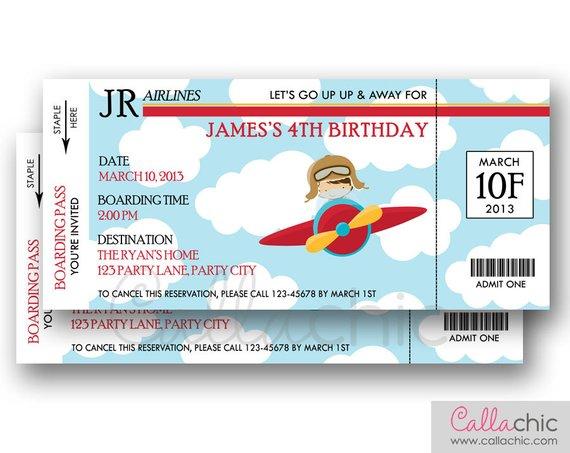 Airplane Ticket Invitation PRINTABLE - Boarding Pass Aeroplane Plane - ticket invitation template
