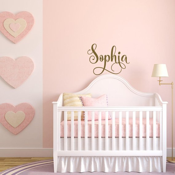 Baby Girl Nursery Wall Decal- Gold Decal for Girls Room ...