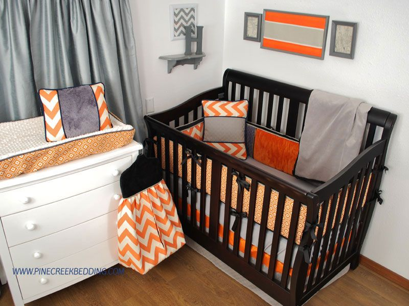 orange chevron crib bedding with black and grey fabrics