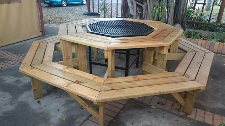 Octagonal Barbeque And Firepit With Table Patio Decor Fire Pit Backyard Picnic Bench