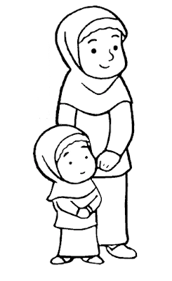 Gambar Mewarnai Anak Muslim 6 Warna Buku Mewarnai Anak