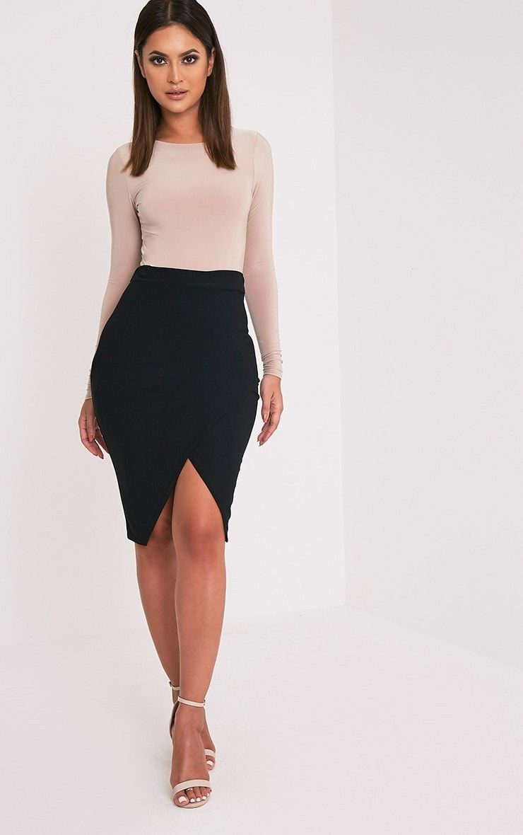 48dcf155bb Black Wrap Midi Skirt Featuring figure flattering shape and contemporary  style textured fabric, .
