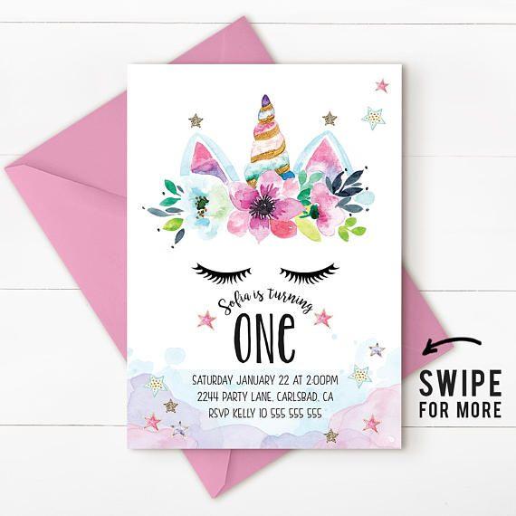 Unicorn Invitation Party First Birthday Rainbow