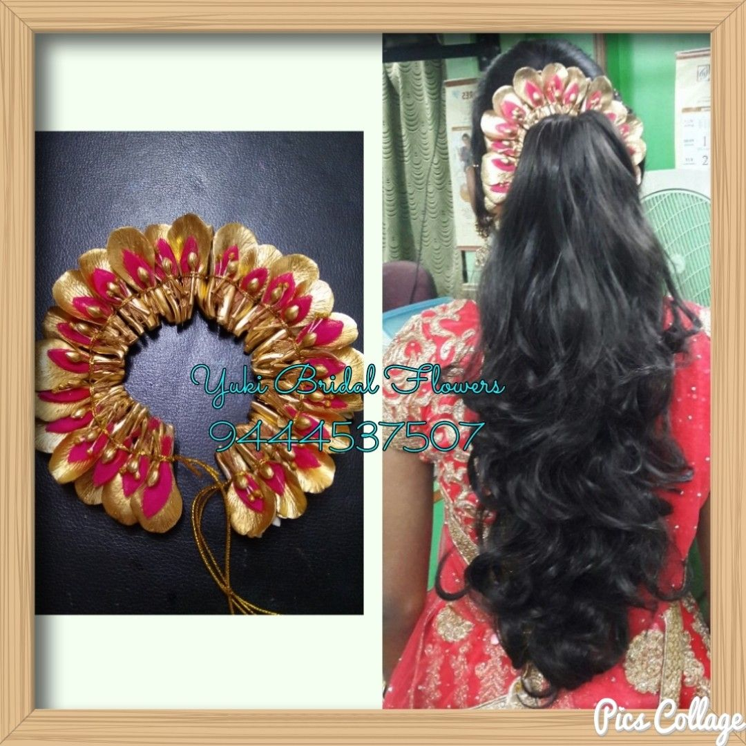 Fancy Flower Veni Done For A Pink Colored Lehenga With Heavy Zaree Work For A Wedding Reception Bridal Bridal Hair Decorations Hair Decorations Bridal Looks