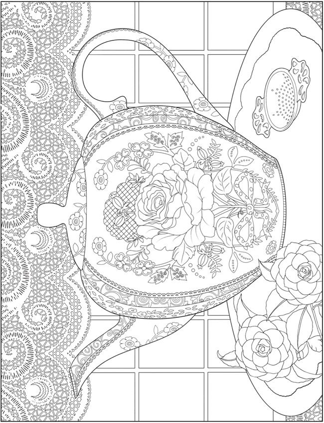 Kleurplaat Theepot Welcome To Dover Publications Creative Haven Tea Time Coloring Book