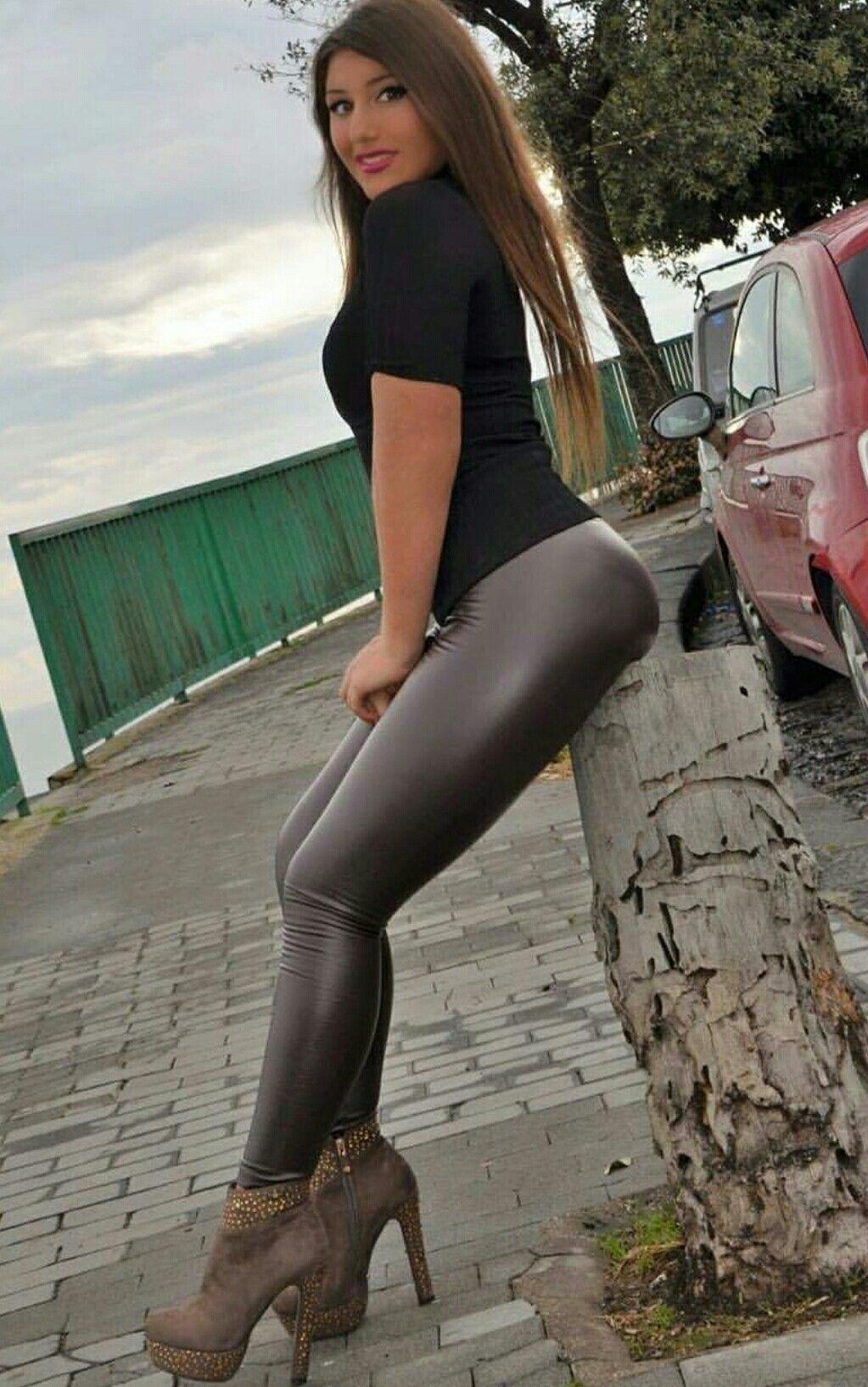 Gorgeous  Beautiful Woman  Wet Look Leggings, Leather -8709
