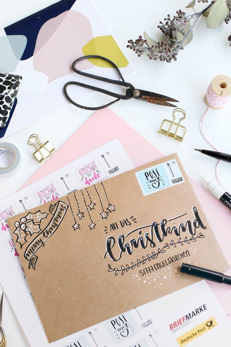 DIY: Briefkuverts für die Weihnachtspost mit Hand Lettering gestalten | mein feenstaub