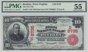 "Beckley, WV - Ch. 6735 - $10 1902 Red Seal The First National Bank of Beckley opened in 1903 and closed in 1907. If you know your national banknotes, then you will instantly recognize that as a red seal only bank. 1902 red seals were issued between March 1902 and December 1908. For a bank to be a ""red seal only bank"" it had to open and close between that threshold."