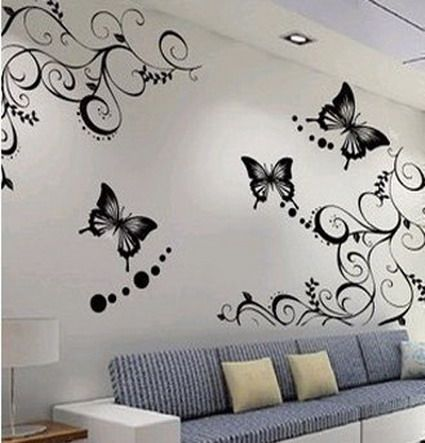 Cute butterfly and beautiful flowers wallpapers stickers decals for small modern living room - Flower wall designs for a bedroom ...