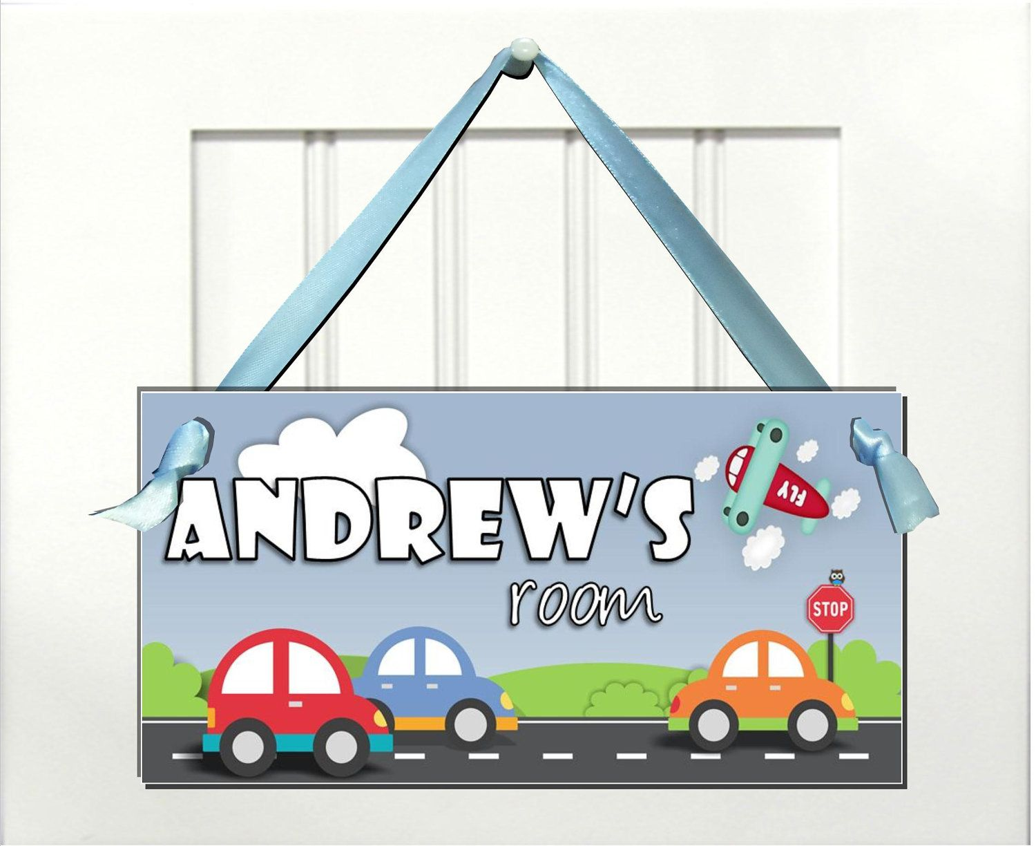Kids Door Sign Boys Cute Cars In Road Airplaine And Owl On Etsy Kids Door Signs Boys Door Signs Door Signs