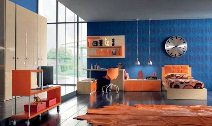 farbgestaltung wohnzimmer wandgestaltung wanddesign blau orange - wohnzimmer blau beige