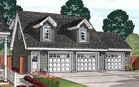 Traditional Style 3 Car Garage Apartment Plan Number