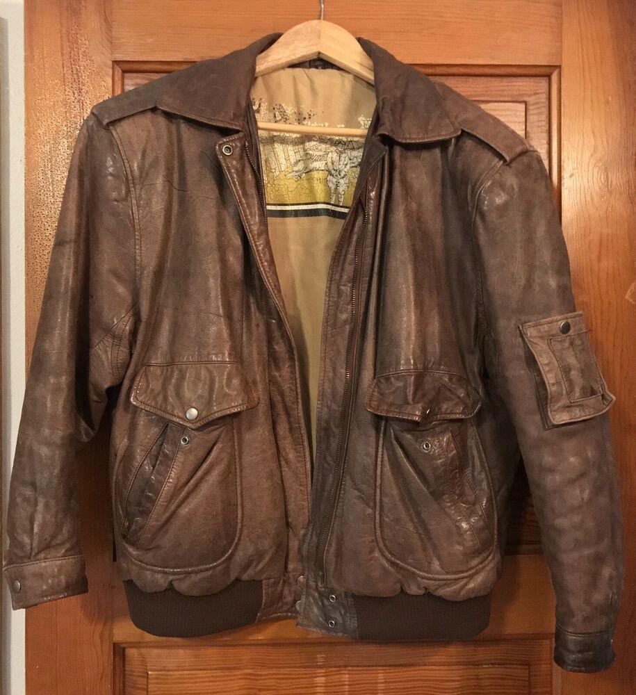 Vintage Women S Brown Leather Bomber Flight Jacket Coat Size M 1980s Very Nice Unknown Coat Brown Bomber Jacket Flight Jacket Leather Bomber Jacket [ 1000 x 915 Pixel ]