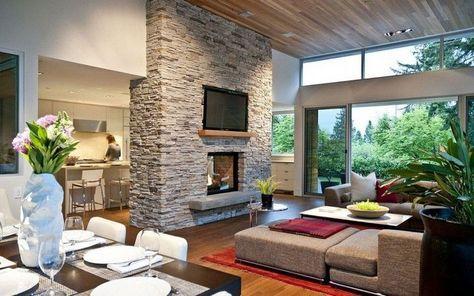 graue Verblendsteine verkleiden die Trennwand Einrichtung - verblendsteine wohnzimmer grau