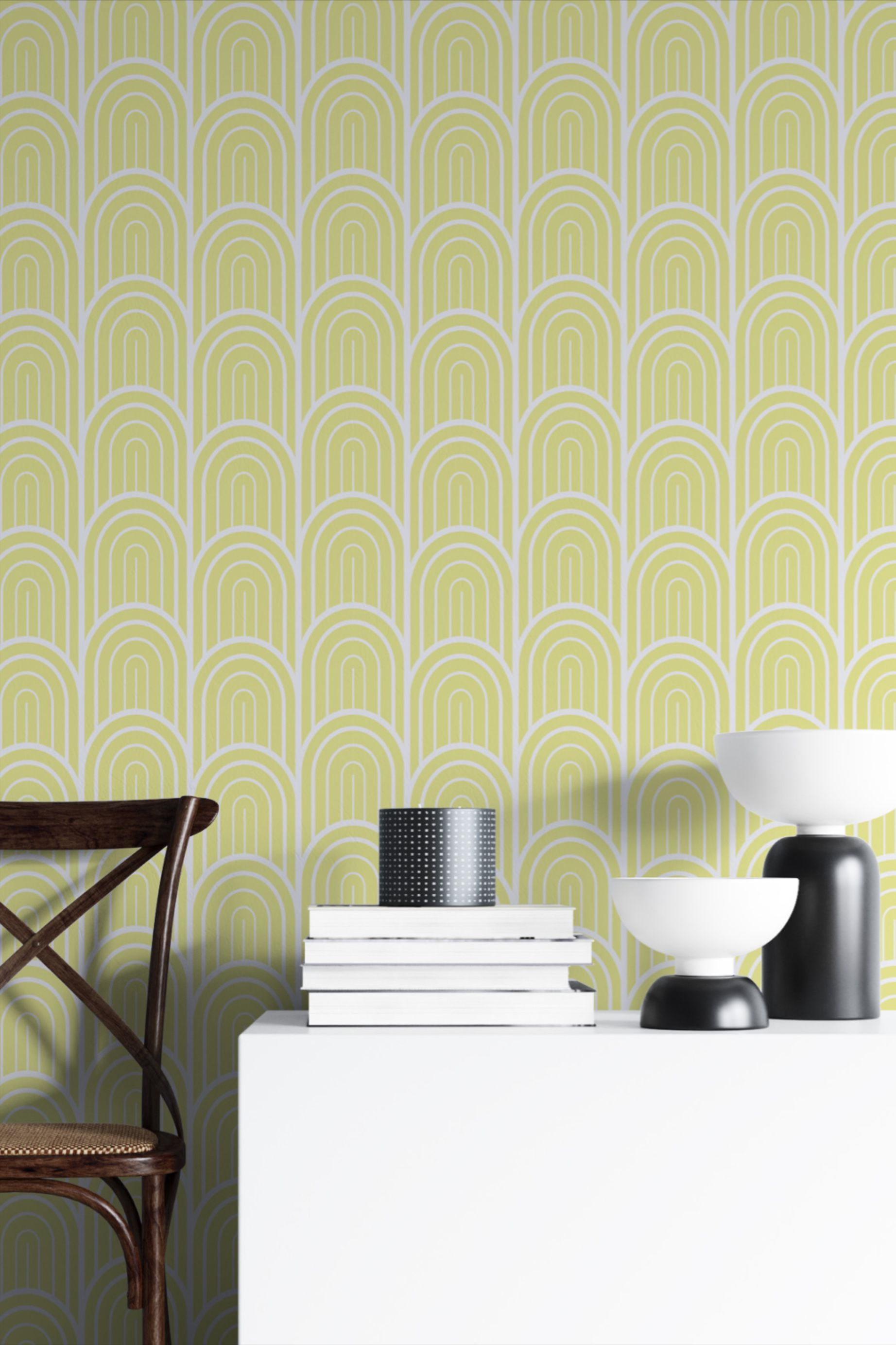 Art Deco Yellow Wallpaper Peel And Stick Geometric Self Adhesive Wall Covering Kitchen Wall Mural Bedroom Wallpaper In 2020 Yellow Wallpaper Wall Murals Bedroom Wallpaper Living Room