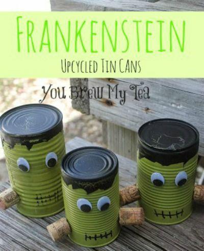 Frankenstein Upcycled Tin Cans - Fun halloween decorations - halloween decoration kids