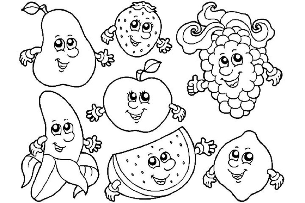 Fruit Coloring Pages With Faces Fruit Coloring Pages Food