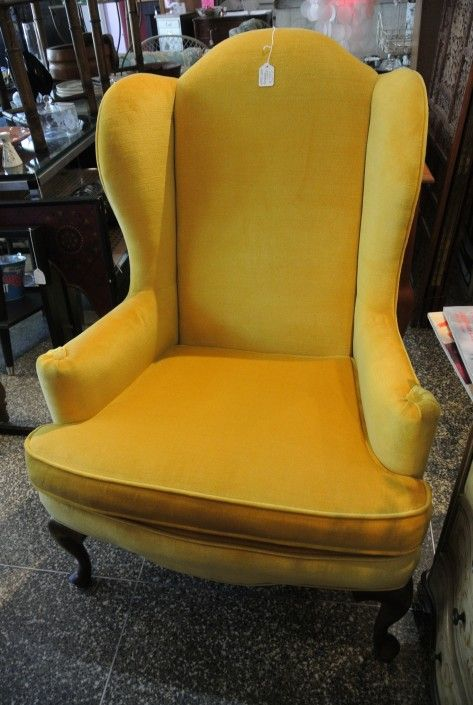 Pair Of Vintage Yellow Velvet Wingback Chair From Miss Pixies Of 14th Street Washington Dc Attic Velvet Wingback Chair Wingback Chair Yellow Accent Chairs