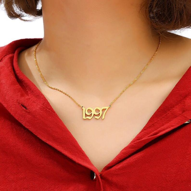 Gothic 1991 2010 Birth Year Chain Necklace Dainty Gold Etsy Womens Necklaces Men Choker Anklet