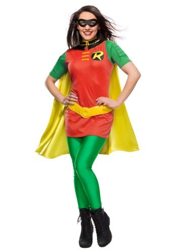 fd68cf0a Robin costume for women. Includes Tunic, Leggings, Cape, Belt, and Mask.  Grab Batman or go out on your own in this DC women's Robin costume based on  the ...