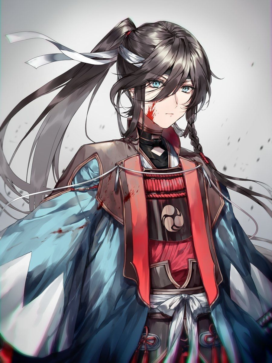 Boy Anime Warrior Blue Eyes Black Hair In 2020 Anime Kimono Hot Anime Boy Anime Warrior