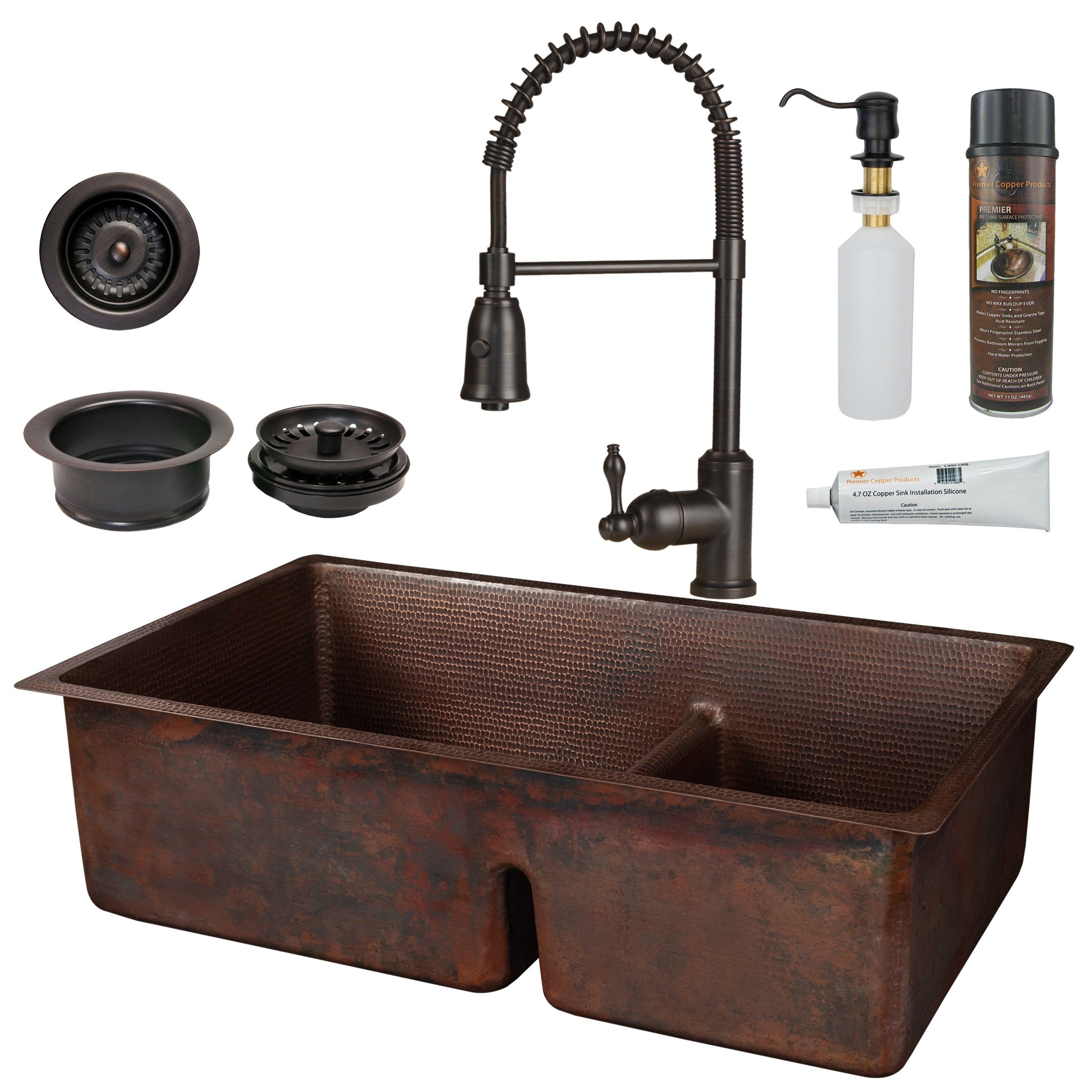 Premier Copper Products KSP4_K60DB33229SD5 Kitchen Sink