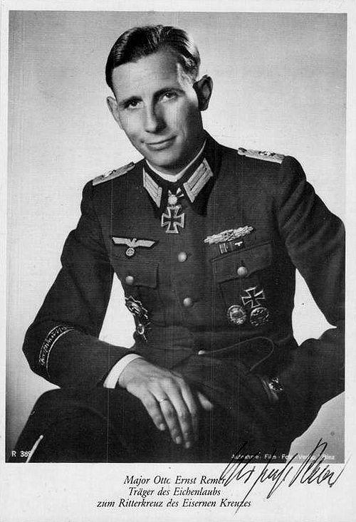 """✠ Otto-Ernst Remer Otto-Ernst (August 18th, 1912 - October 4th, 1997) RK 18.05.1943 Major Kdr I./Gren.Rgt (mot) """"GD"""" [325. EL] 12.11.1943 Major Kdr I./Gren.Rgt (mot) """"GD"""""""