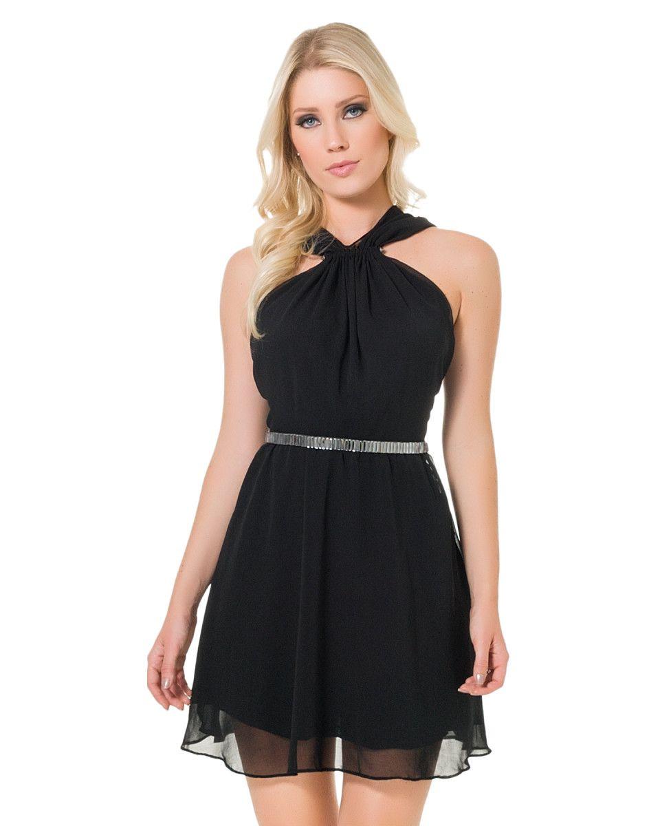 Vestido simples com decote v nas costas
