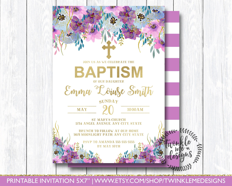 purple floral baptism invitation violet and gold christening invite