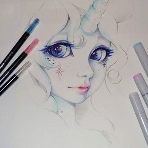 Here S Aud The Unicorn Girl Cute Kawaii Copic Marker Tutorial Face Portrait Manga Anime Traditional Art Artist Gaming Art Pretty Art Drawings