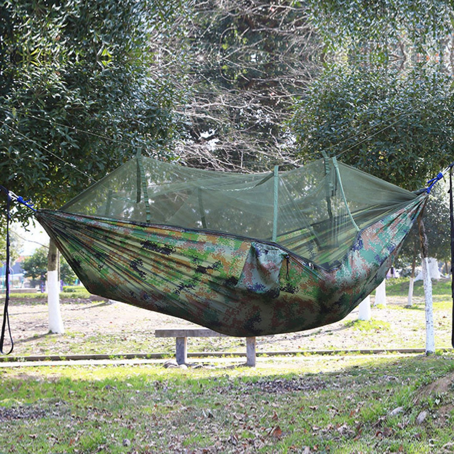 Weanas extra single camping hammock with mosquito net pinterest
