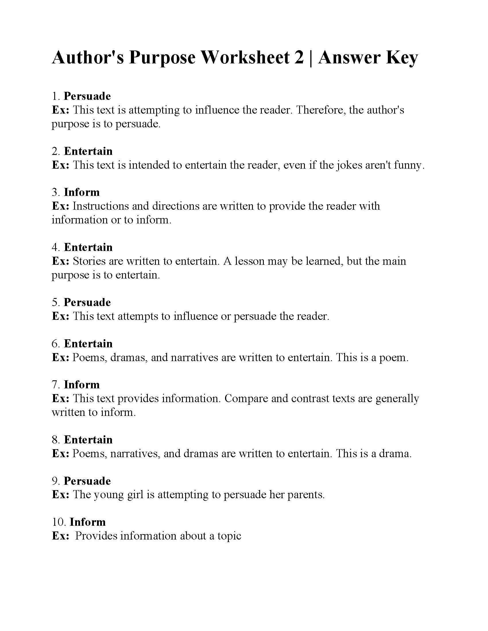 This is the answer key for the Author's Purpose Worksheet 2.   Author's  purpose worksheet [ 2200 x 1700 Pixel ]