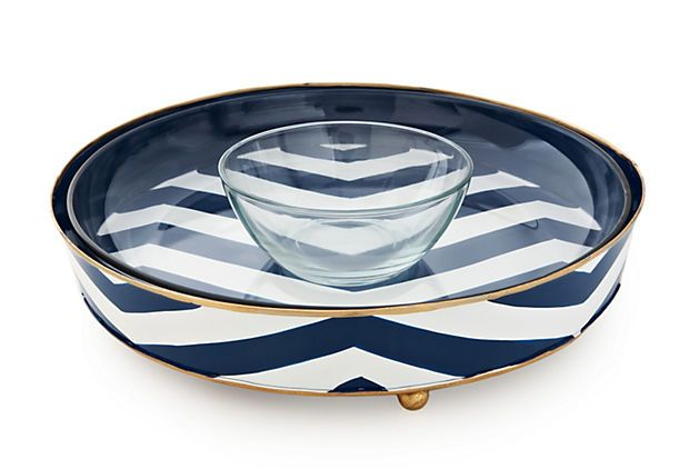 Jayes Chevron Chip Dip With Removable Glass Tray And Bowl