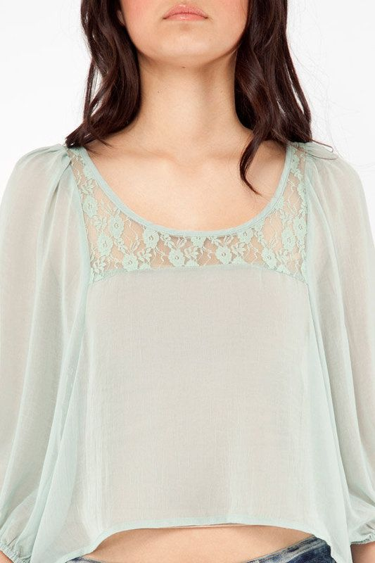 Sweet Rain Cropped Lacey Blouse
