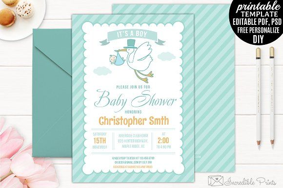 Mint Baby Shower Invitation Template By Incredible Prints On
