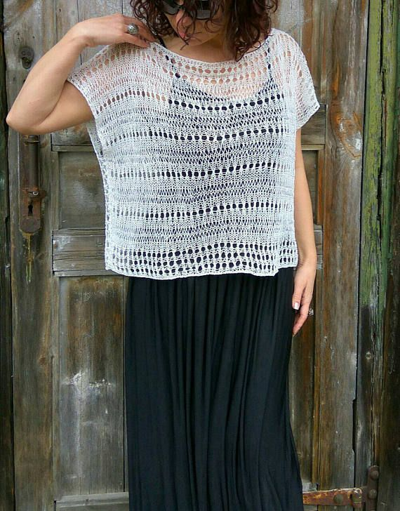 White Linen Loose Top, Handknit Lace Vest, Oversize Summer Sweater ...