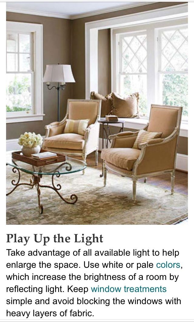 Play up the light Good decorating tips and small space