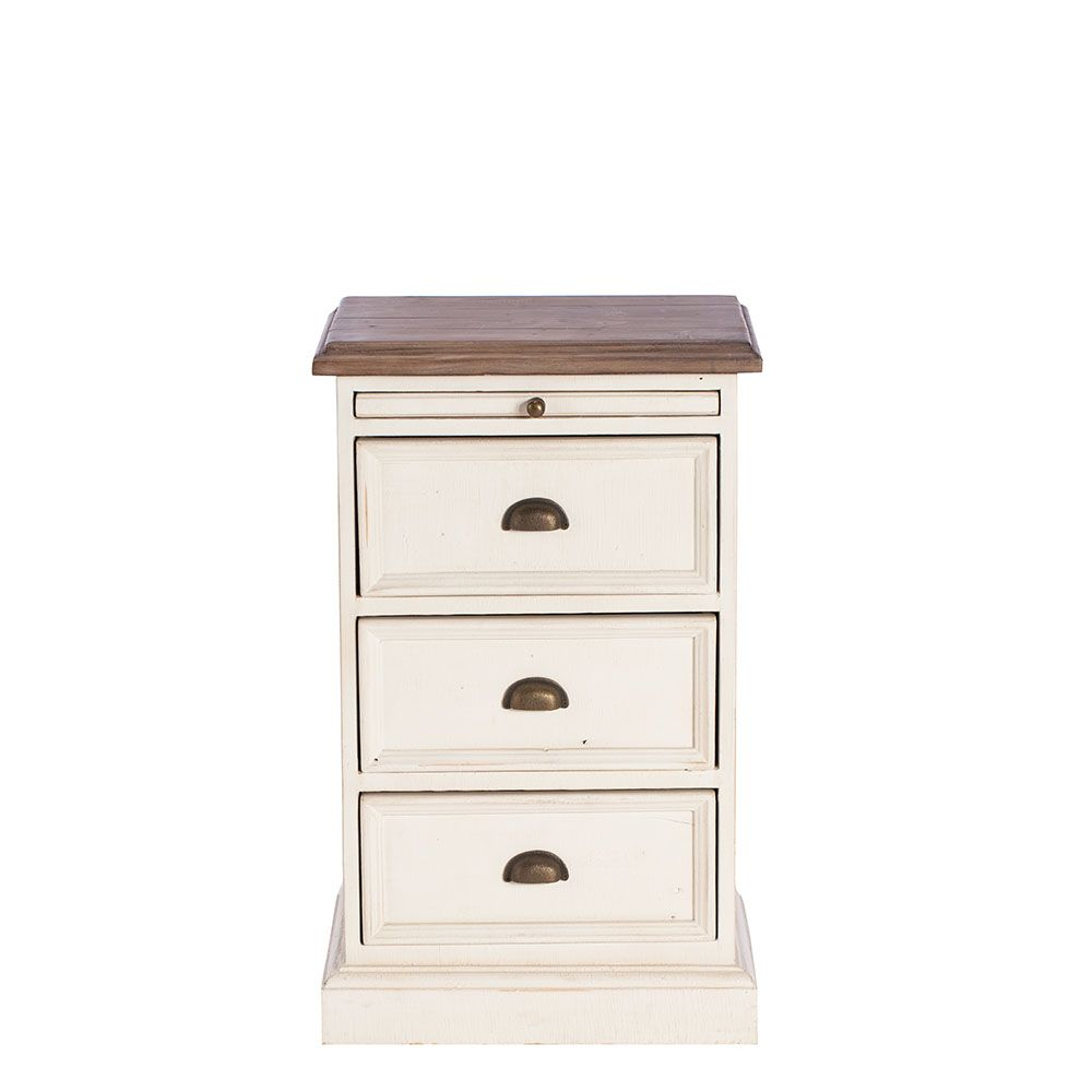 Best Carisbrooke Reclaimed Wood 3 Drawer Bedside Cabinet 400 x 300