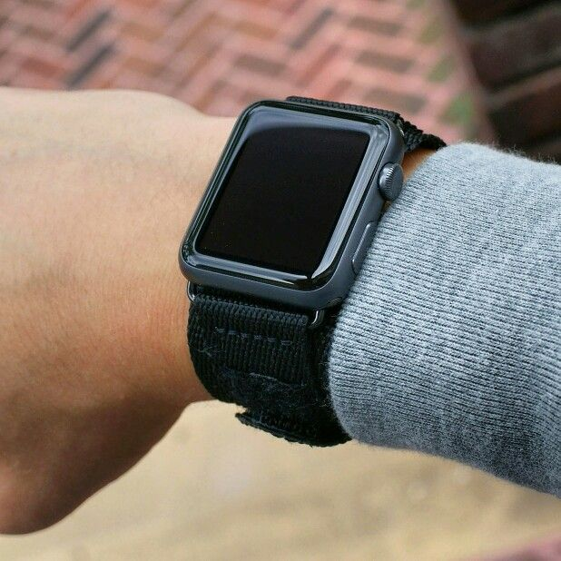 e1a08041a82 B   R Bands Black Nylon Velcro Strap on the Apple Watch!