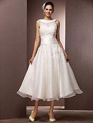 Lanting Bride® A-line Petite / Plus Sizes Wedding Dress - Reception Little White Dresses / Wedding Dresses With Wrap Tea-length Jewel