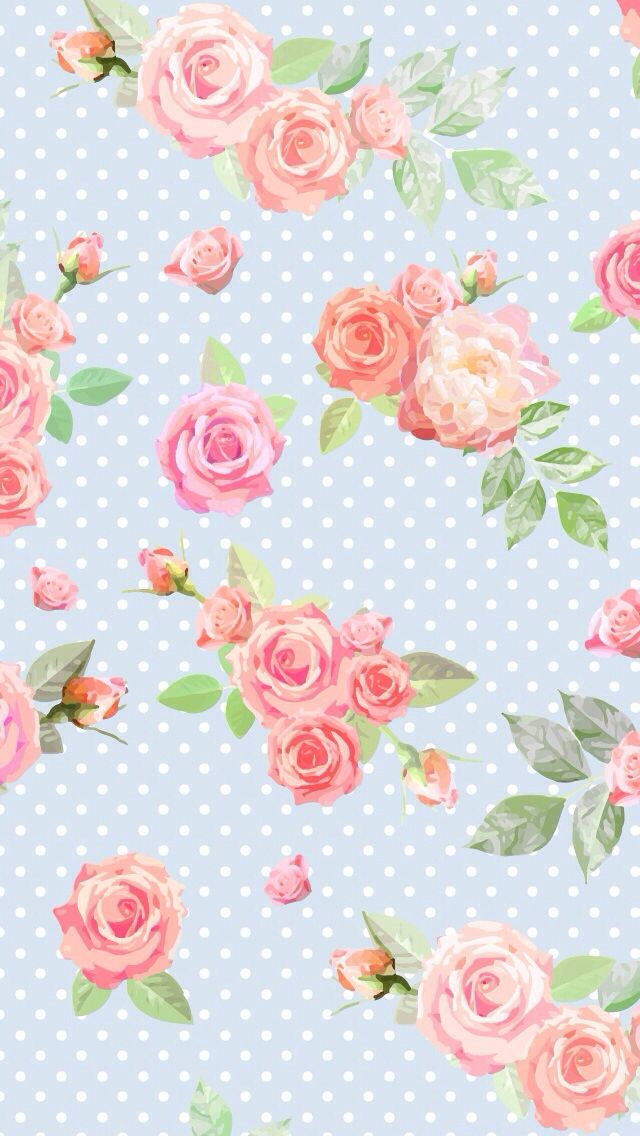 Blue Pink Vintage Floral Roses Dots Spots Iphone Phone Wallpaper