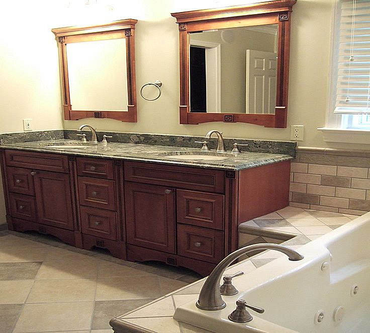 Normal Master Bathroom Size: Double Sinks With Mirrors - Master Bath