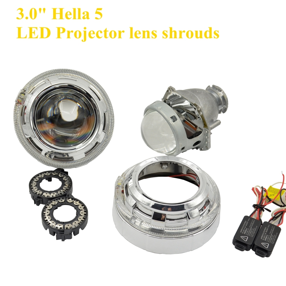 99.00$  Watch now - http://alifmk.shopchina.info/1/go.php?t=32799751156 - 2pcs 3.0 inch hella 5 car Bixenon hid Projector COB led angel eyes white  D1S D2S D3S D4S hid xenon kit headlight  99.00$ #buyonlinewebsite