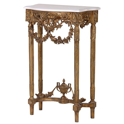 Small Gold Console with White Marble Top httpwwwlamaisonchic