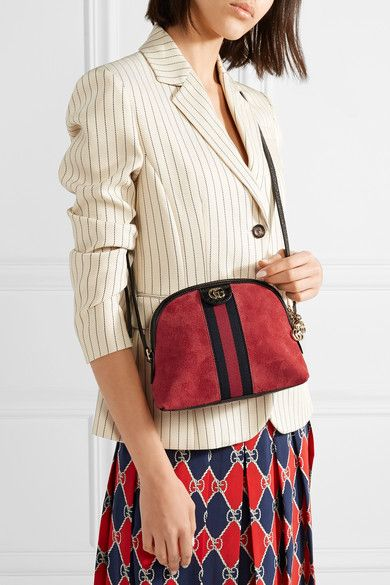 Ophidia Patent Leather-trimmed Suede Shoulder Bag - Claret Gucci o1f2m7