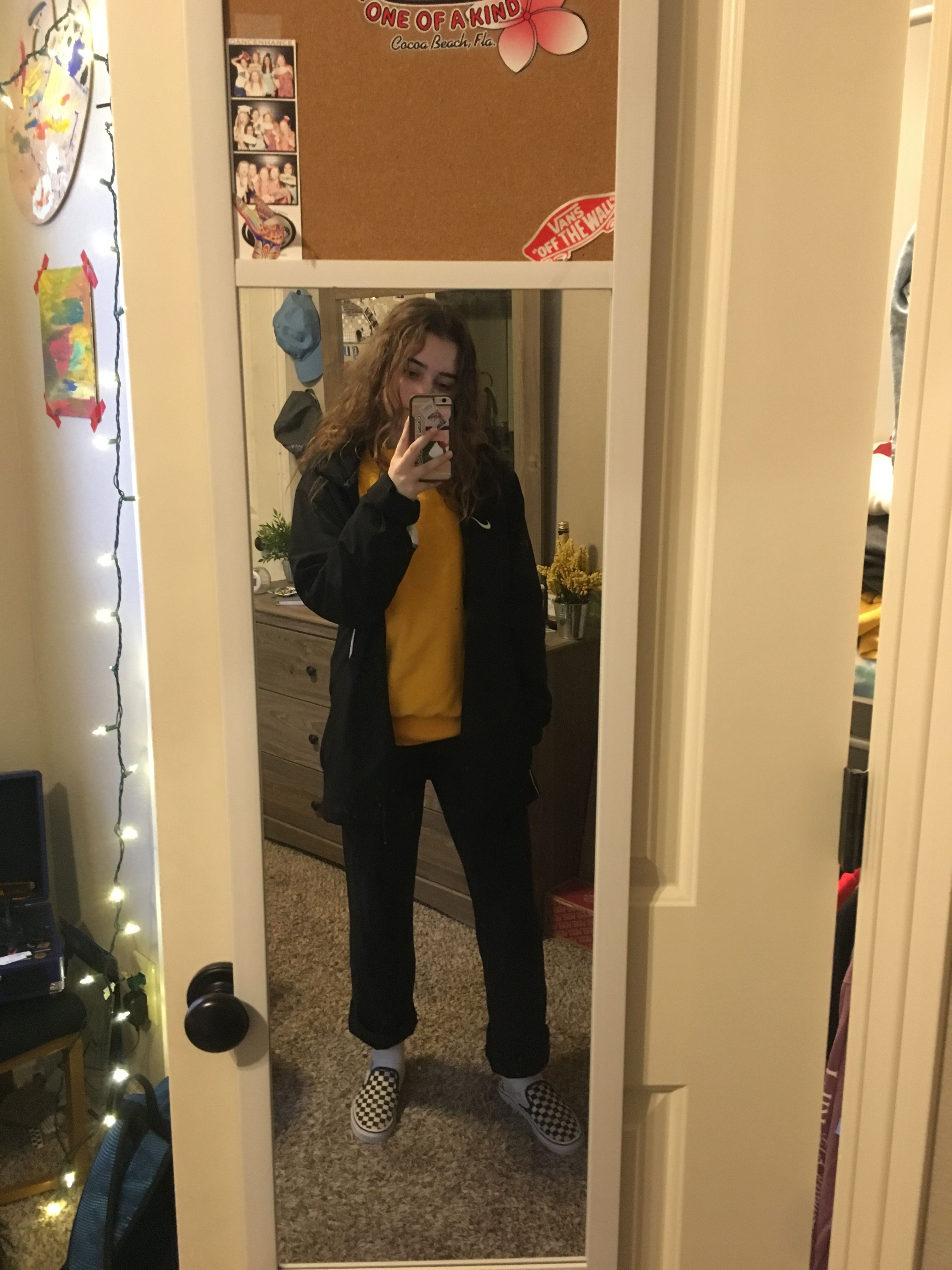 Black Nike Windbreaker Champion Yellow Sweatshirt Nike Sweatpants Black And White Checkered Vans Black Nikes White Checkered Vans Yellow Sweatshirt [ 4032 x 3024 Pixel ]