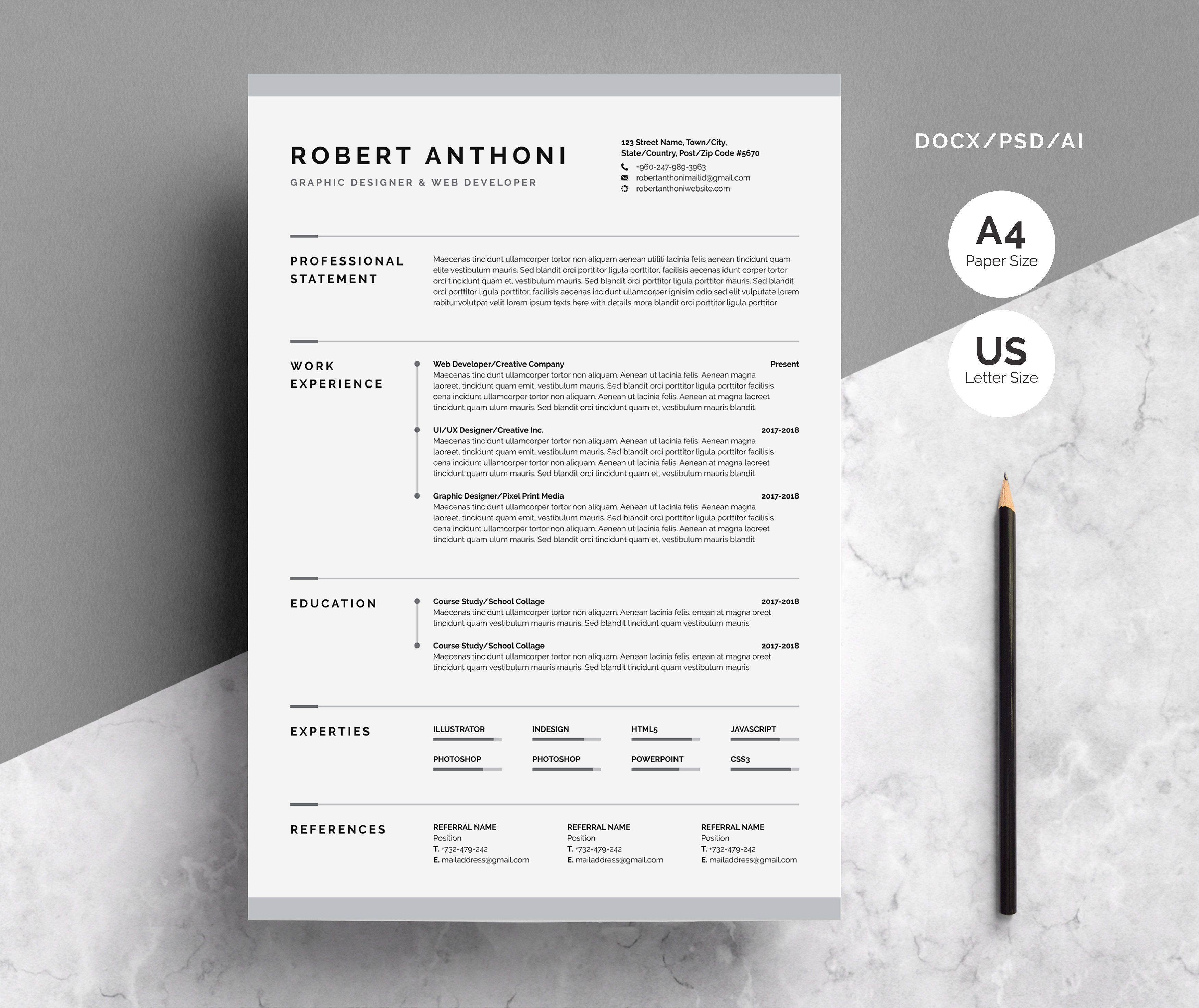 Creative Resume Cv Template Paper F Amp Size Creative Resume