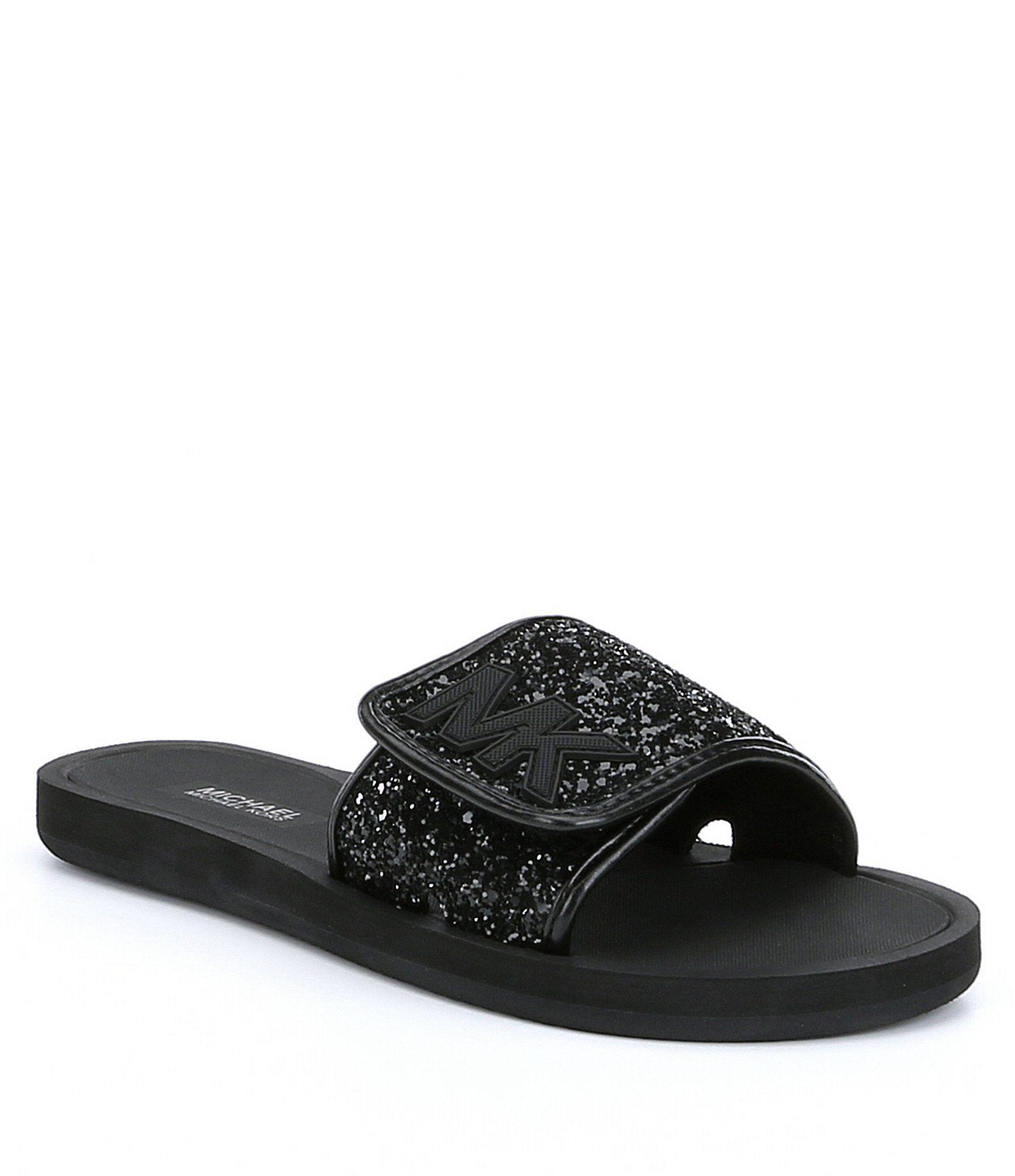 Slide sandals, Sandals, Glitter slides